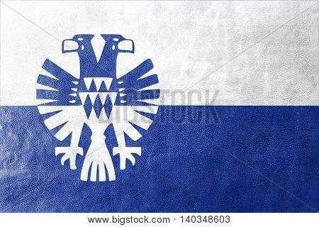 Flag Of Arnhem, Netherlands, Painted On Leather Texture