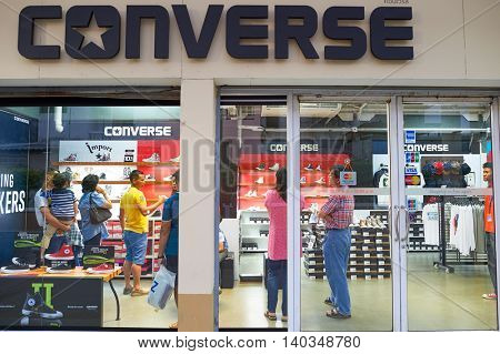 PATTAYA, THAILAND - FEBRUARY 21, 2016: exterior of a store in Pattaya. Shopping is a popular pastime in Thailand, particularly with tourists.