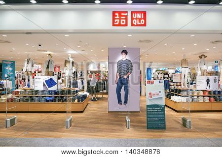 PATTAYA, THAILAND - FEBRUARY 22, 2016: Uniqlo in Central Festival Pattaya. Uniqlo Co., Ltd. is a Japanese casual wear designer, manufacturer and retailer.
