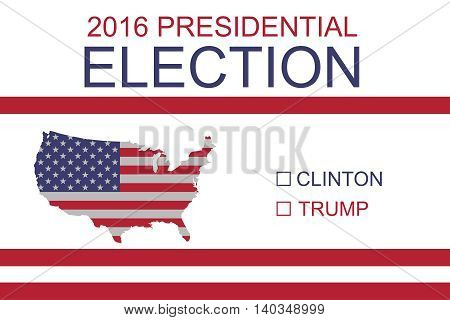 BERLIN GERMANY - JULY 29 2016: 2016 US Presidential Election: Clinton or Trump Stars and Stripes map of the USA illustration