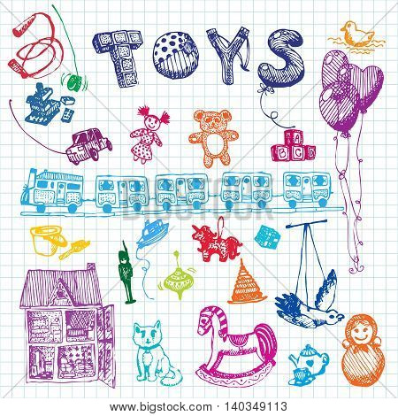 Doodle hand drawn toys. Colored illustration, notebook background. Design, shop, ad, child, kindergarten, elementary school.