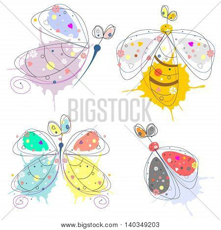 Set of vector illustration of insect. Drawn decorative cute butterfly ladybug wasp isolated on the white background. Line drawing.