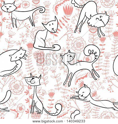 White doodle cats and florals seamless pattern