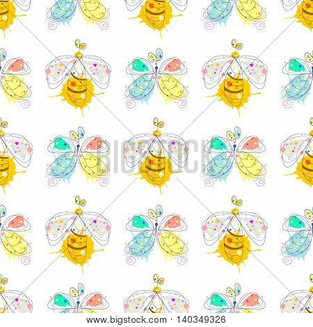 Seamless Pattern Wirh Wasp And Butterfly
