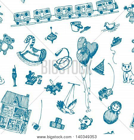 Hand drawn doodle toys seamless pattern. Blue pen objects, white background. Play, game, kids, children, child, poster, flyer, design.