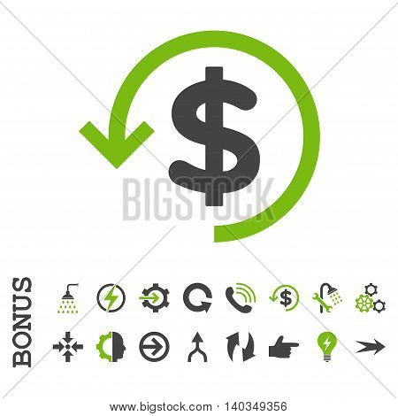 Refund vector bicolor icon. Image style is a flat iconic symbol, eco green and gray colors, white background.