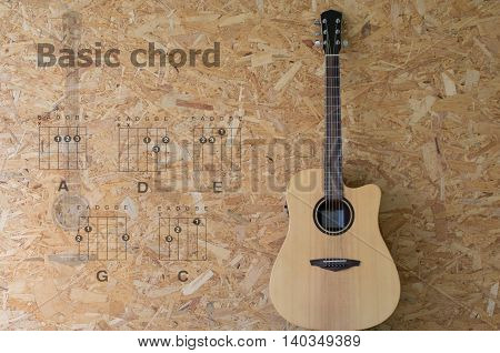 Acoustic Guitar With Basic Chord On Wood Background