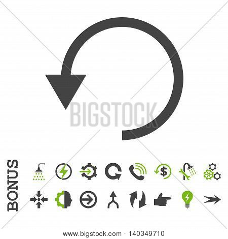 Rotate Ccw vector bicolor icon. Image style is a flat pictogram symbol, eco green and gray colors, white background.