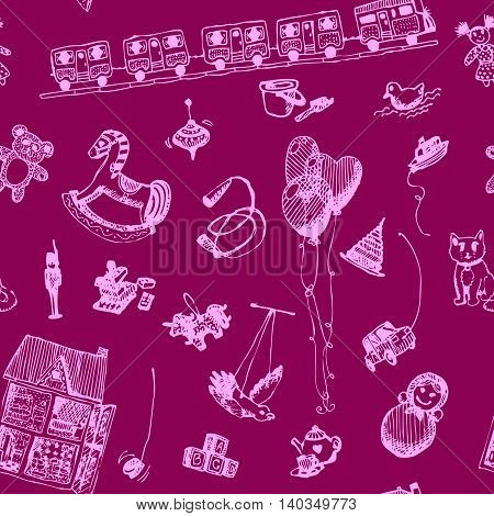 Hand drawn doodle toys seamless pattern. Light pink pen objects, deep pink background. Play, game, kids, children, child, poster, flyer, design.