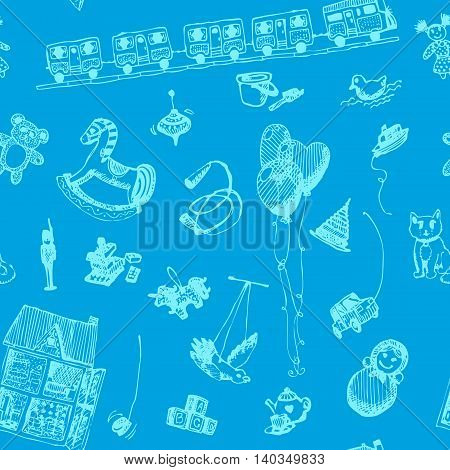 Hand drawn doodle toys seamless pattern. Light blue pen objects, blue background. Play, game, kids, children, child, poster, flyer, design.
