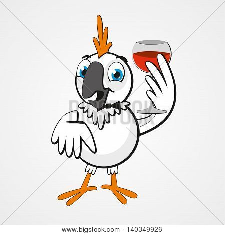 White funny cartoon hilarious parrot with a glass of wine isolated on white background. Vector illustration. Eps 10.