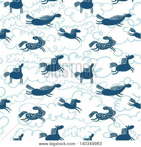 Cute horses blue silhouettes in clouds seamless pattern