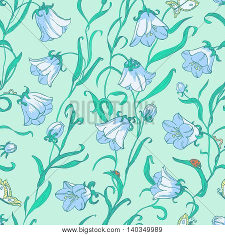 vector doodle green floral seamless pattern with ladybird and butterfly