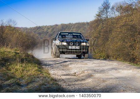 Lviv Ukraine - November 1 2015: Dmytro Zacharow's VAZ-2108 competes at the annual Rally Galicia