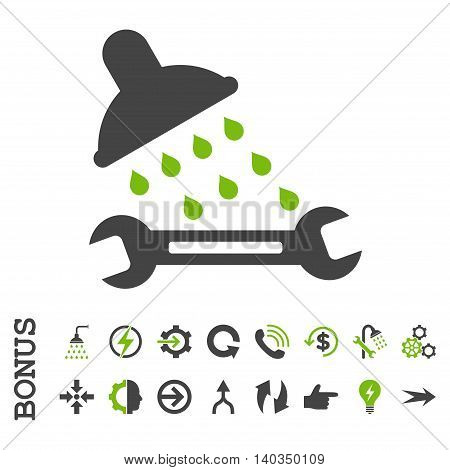 Shower Plumbing vector bicolor icon. Image style is a flat iconic symbol, eco green and gray colors, white background.
