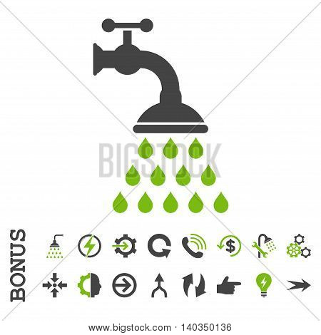 Shower Tap vector bicolor icon. Image style is a flat pictogram symbol, eco green and gray colors, white background.
