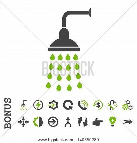 Shower vector bicolor icon. Image style is a flat iconic symbol, eco green and gray colors, white background.