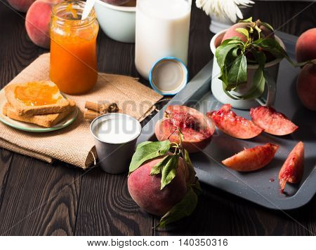 Summer Rustic Breakfast With Fruit And Toasts