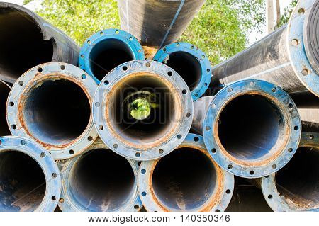 metal and hdpe water pipe, old water pipe
