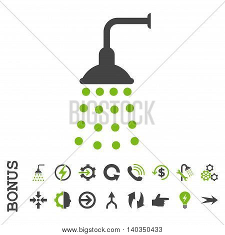 Shower vector bicolor icon. Image style is a flat pictogram symbol, eco green and gray colors, white background.