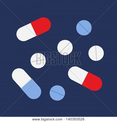 Flat icon medicine. Pills and capsules. Vector illustration.