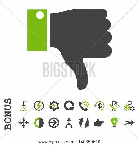 Thumb Down vector bicolor icon. Image style is a flat pictogram symbol, eco green and gray colors, white background.