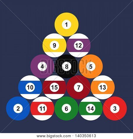 Flat set of billiard balls. Vector illustration.