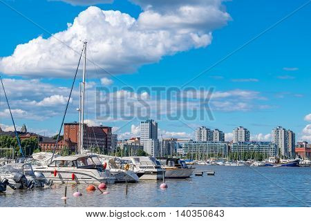 View over boats moored in North Harbour (Pohjoissatama). Helsinki. Finland Europe