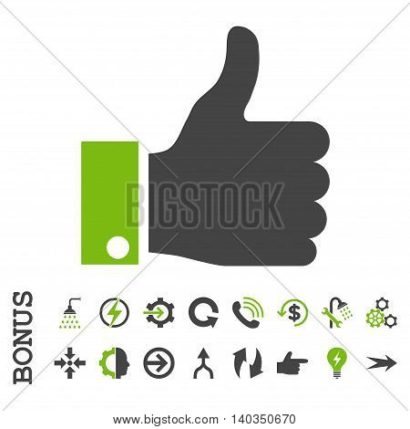 Thumb Up vector bicolor icon. Image style is a flat iconic symbol, eco green and gray colors, white background.