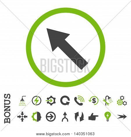 Up-Left Rounded Arrow vector bicolor icon. Image style is a flat iconic symbol, eco green and gray colors, white background.