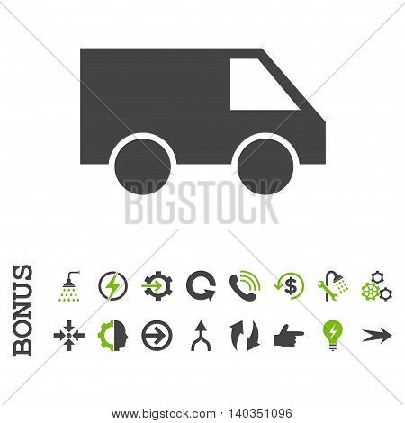Van vector bicolor icon. Image style is a flat iconic symbol, eco green and gray colors, white background.