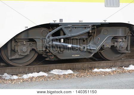Closeup of gears of a train wagon