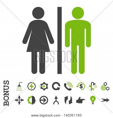 WC Persons vector bicolor icon. Image style is a flat iconic symbol, eco green and gray colors, white background.