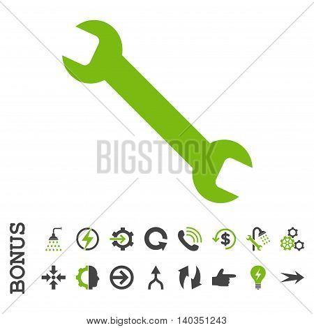 Wrench vector bicolor icon. Image style is a flat iconic symbol, eco green and gray colors, white background.