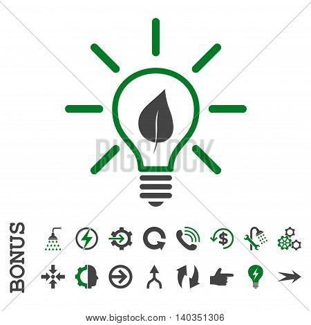Eco Light Bulb vector bicolor icon. Image style is a flat iconic symbol, green and gray colors, white background.