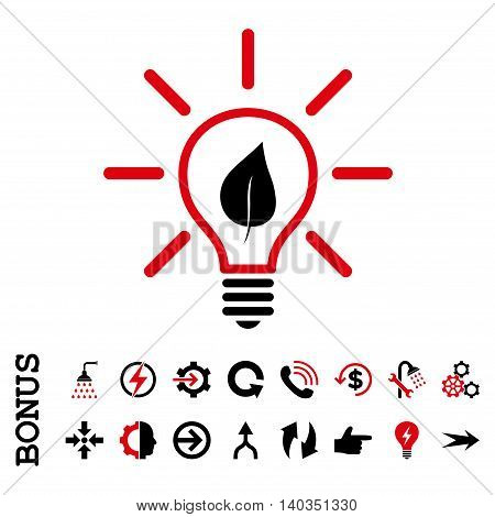 Eco Light Bulb vector bicolor icon. Image style is a flat iconic symbol, intensive red and black colors, white background.