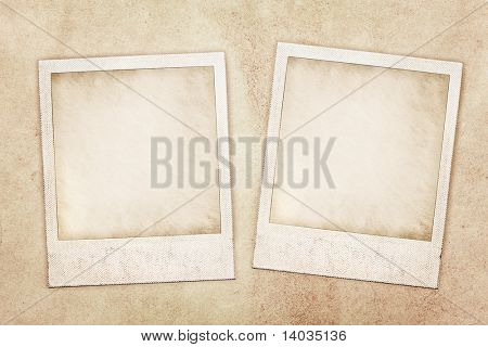 two instant photo prints on background