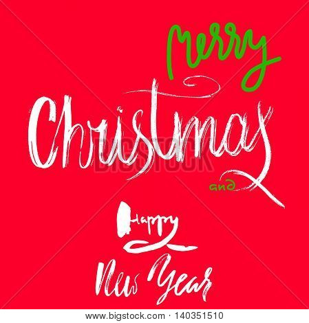 Merry Christmas and Happy New Year Handdrawn Lettering on Red Background. EPS10