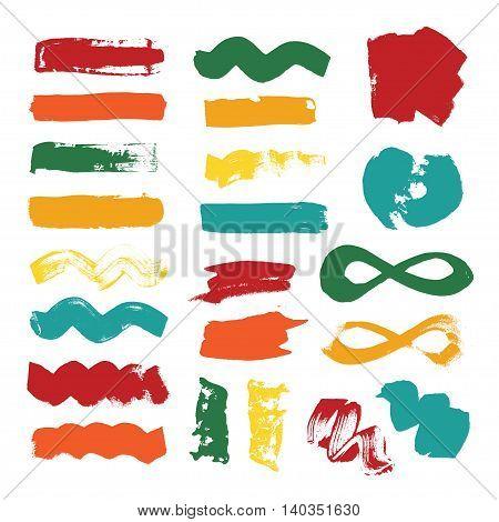 Set of colorful grunge brush strokes. Vector illustration.