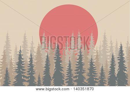 Beige and grey shapes fir forest, red sun on light beige, design elements, vector illustration