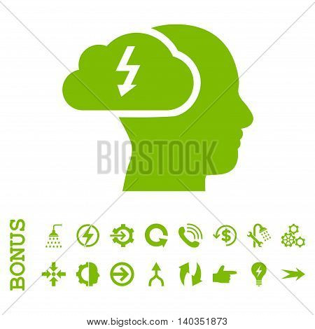 Brainstorming vector icon. Image style is a flat iconic symbol, eco green color, white background.