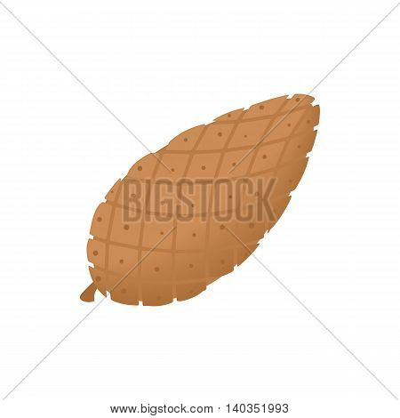 Fir cone icon in cartoon style isolated on white background. Plants symbol