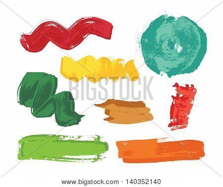 Set of colorful grunge brush strokes. Art Vector illustration.