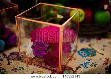 Dried pink roses heads and petals in glass box. home decor