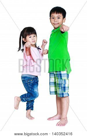 Happy Asian Children Posing In The Studio, Isolated On White Background.