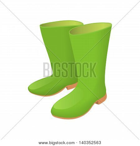Rubber green boots icon in cartoon style isolated on white background. Shoes symbol