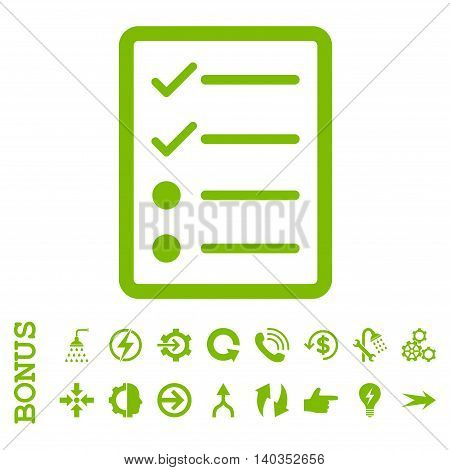 Checklist Page vector icon. Image style is a flat pictogram symbol, eco green color, white background.