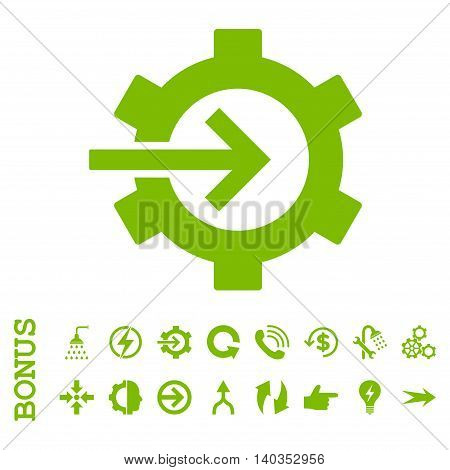 Cog Integration vector icon. Image style is a flat iconic symbol, eco green color, white background.