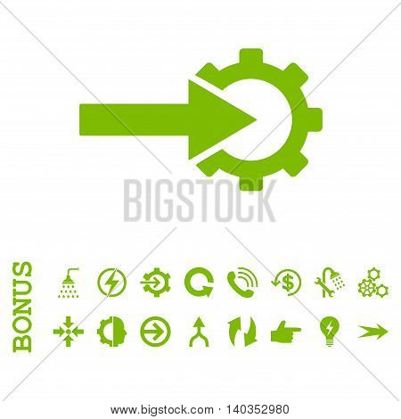 Cog Integration vector icon. Image style is a flat pictogram symbol, eco green color, white background.