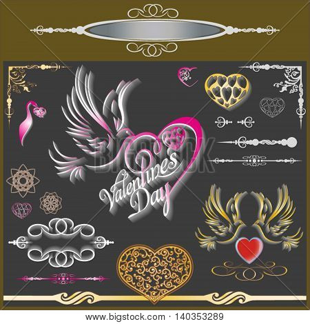 Vector illustration of Valentine's Day with a gentle profile of a dove and hearts frame